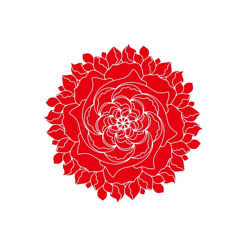 Κόκκινος αυξήθηκε οργανικές εγκαταστάσεις λογότυπων έννοιας λουλουδιών διανυσματικές Αναδρομικό στοιχείο σχεδίου άνοιξης ή καλοκα απεικόνιση αποθεμάτων