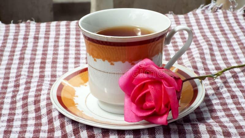Κόκκινος αυξήθηκε λουλούδι στο πιάτο τσαγιού στοκ φωτογραφία με δικαίωμα ελεύθερης χρήσης