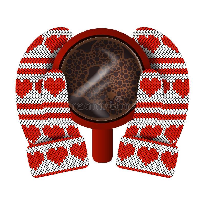 κόκκινος αυξήθηκε Παραδίδει τα πλεκτά γάντια κρατά μια κόκκινη κούπα με τον καυτό καφέ Πλέκοντας σχέδιο των καρδιών και των λωρίδ απεικόνιση αποθεμάτων