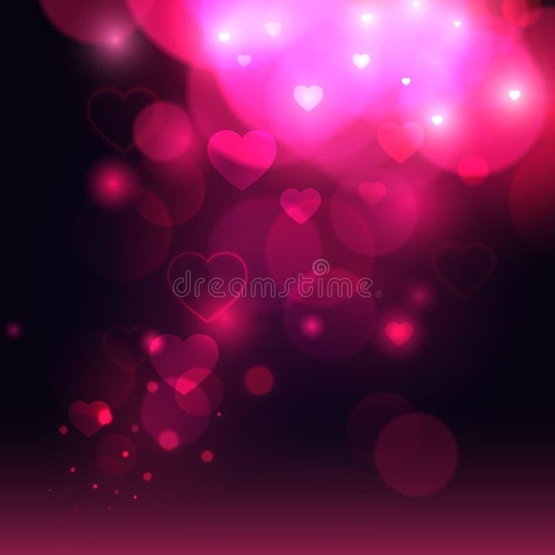 κόκκινος αυξήθηκε Υπόβαθρο βαλεντίνων με τη βιολέτα bokeh και την καρδιά Ρομαντικό υπόβαθρο βαλεντίνων αγάπης αφηρημένο διάνυσμα ελεύθερη απεικόνιση δικαιώματος