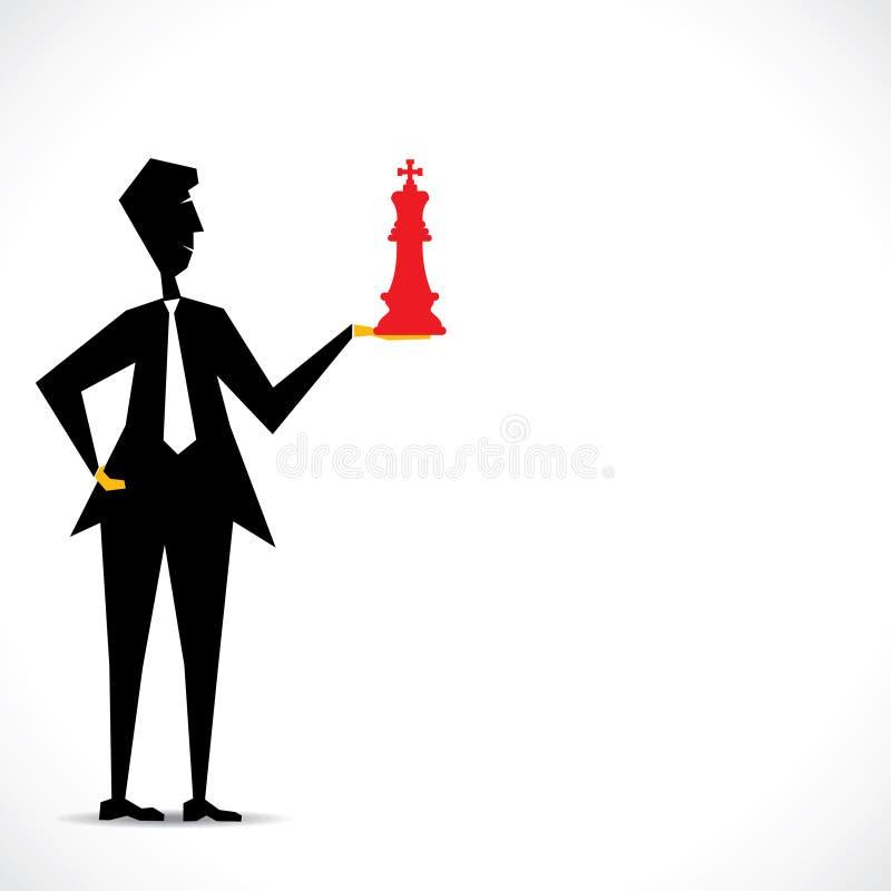 Κόκκινος βασιλιάς στο χέρι επιχειρηματιών διανυσματική απεικόνιση