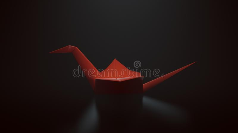 Κόκκινος γερανός εγγράφου Origami σε ένα μαύρο υπόβαθρο με την κορυφή κάτω από το φωτισμό απεικόνιση αποθεμάτων