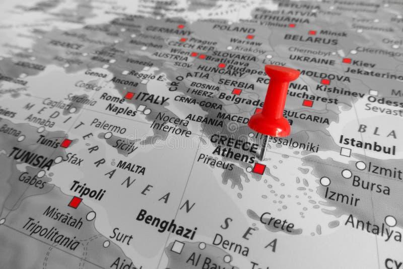 Κόκκινος δείκτης πέρα από την Ελλάδα - την Ευρώπη στοκ φωτογραφία με δικαίωμα ελεύθερης χρήσης