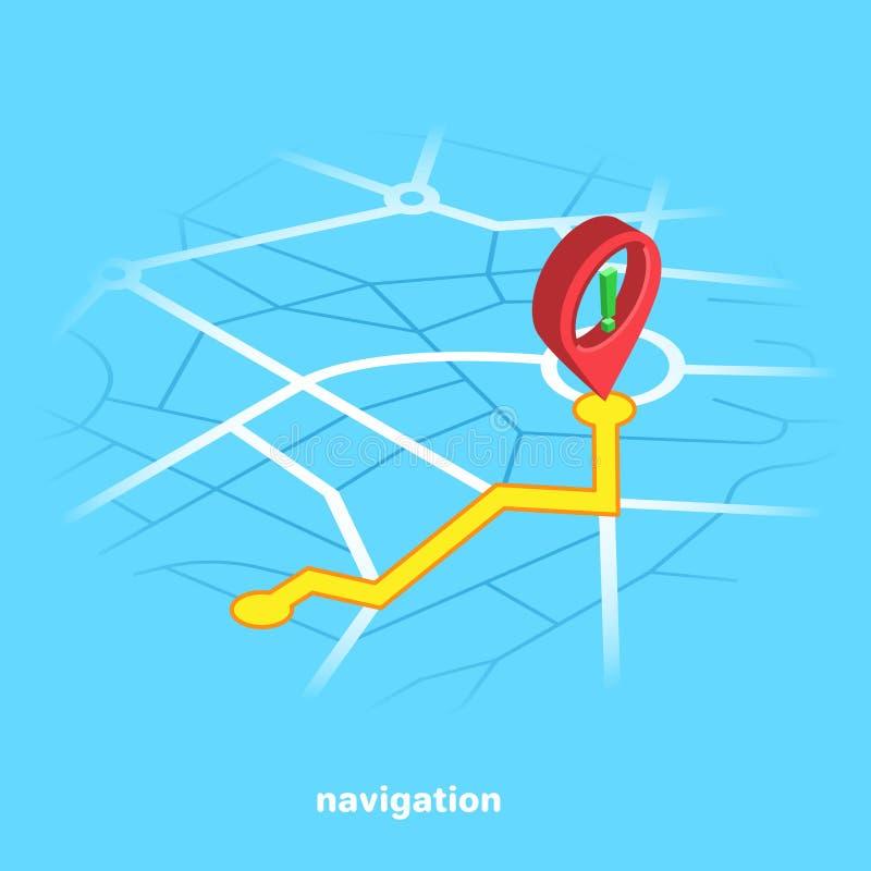 Κόκκινος δείκτης σε έναν μπλε χάρτη πόλεων, isometric διανυσματική απεικόνιση