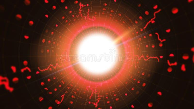 Κόκκινος δυαδικός σωλήνας με τα λαμπιρίζοντας σημάδια απεικόνιση αποθεμάτων