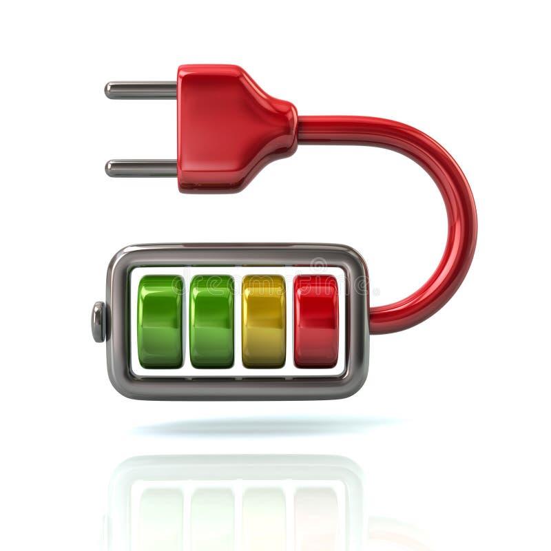 Κόκκινος ενεργειακός φορτιστής μπαταριών με το εικονίδιο βουλωμάτων απεικόνιση αποθεμάτων