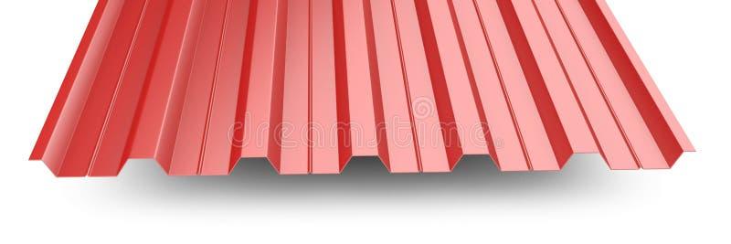 Κόκκινος ζαρωμένος μέταλλο σωρός φύλλων στεγών - μπροστινή άποψη απεικόνιση αποθεμάτων