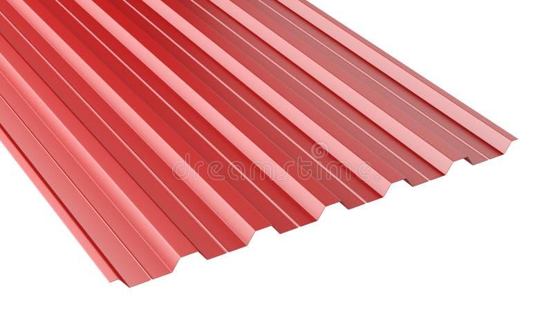 Κόκκινος ζαρωμένος μέταλλο σωρός φύλλων στεγών ελεύθερη απεικόνιση δικαιώματος