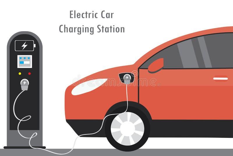Κόκκινος ηλεκτρικός σταθμός αυτοκινήτων και χρέωσης, σύγχρονο conce μεταφορών eco ελεύθερη απεικόνιση δικαιώματος