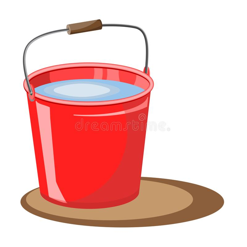 Κόκκινος κάδος του νερού επίσης corel σύρετε το διάνυσμα απεικόνισης Κάδος πυρκαγιάς εξαφανίστε Ένας κάδος του νερού για τον κήπο ελεύθερη απεικόνιση δικαιώματος