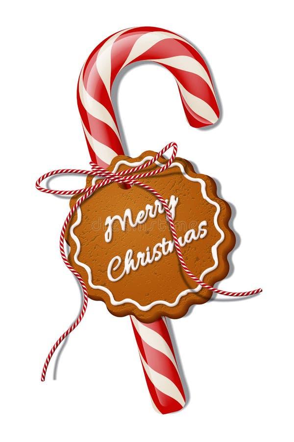 Κόκκινος κάλαμος καραμελών Χριστουγέννων με την κόκκινη ριγωτή κορδέλλα και μπισκότο με το κείμενο Χαρούμενα Χριστούγεννας Διανυσ ελεύθερη απεικόνιση δικαιώματος