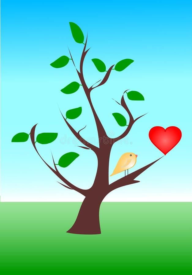 κόκκινος κίτρινος καρδιών πουλιών ελεύθερη απεικόνιση δικαιώματος