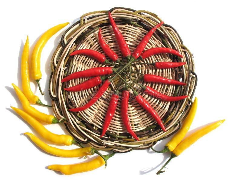 κόκκινος κίτρινος πιπερι στοκ εικόνα