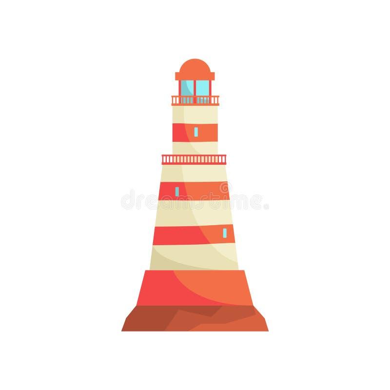 Κόκκινος και άσπρος ριγωτός φάρος, πύργος προβολέων για τη θαλάσσια διανυσματική απεικόνιση καθοδήγησης ναυσιπλοΐας διανυσματική απεικόνιση
