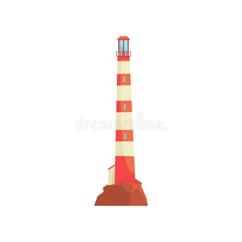 Κόκκινος και άσπρος φάρος, πύργος με μια ακτίνα του προβολέα για τη διανυσματική απεικόνιση θαλάσσιας ναυσιπλοΐας απεικόνιση αποθεμάτων