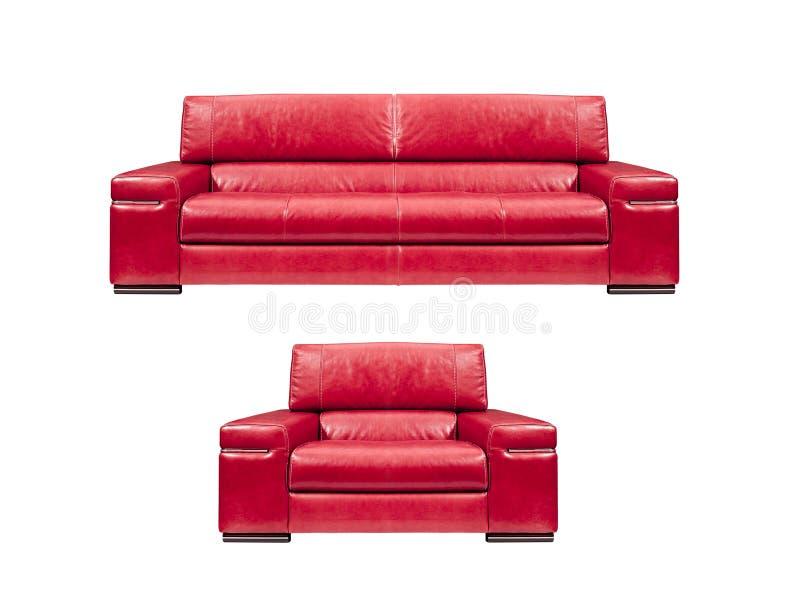 Κόκκινος καναπές δέρματος με την πολυθρόνα στοκ φωτογραφίες