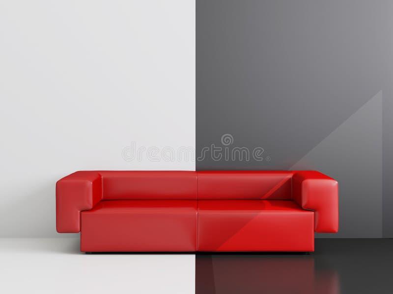 κόκκινος καναπές δωματίω&nu διανυσματική απεικόνιση