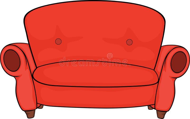 Κόκκινος καναπές διανυσματική απεικόνιση