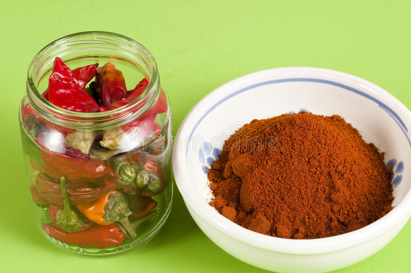 Κόκκινος - καυτά σύνολο και έδαφος πιπεριών τσίλι στοκ εικόνα