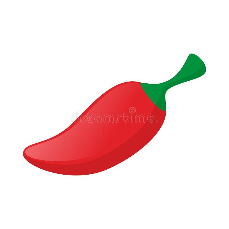 Κόκκινος - καυτό εικονίδιο πιπεριών τσίλι, ύφος κινούμενων σχεδίων απεικόνιση αποθεμάτων