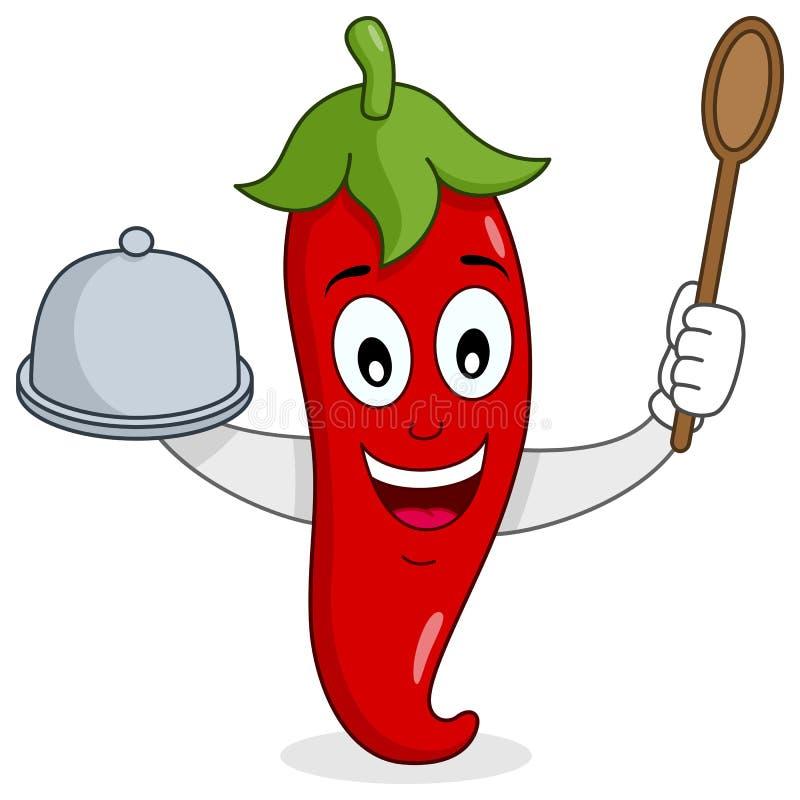 Κόκκινος - καυτό πιπέρι τσίλι με το δίσκο και το κουτάλι διανυσματική απεικόνιση