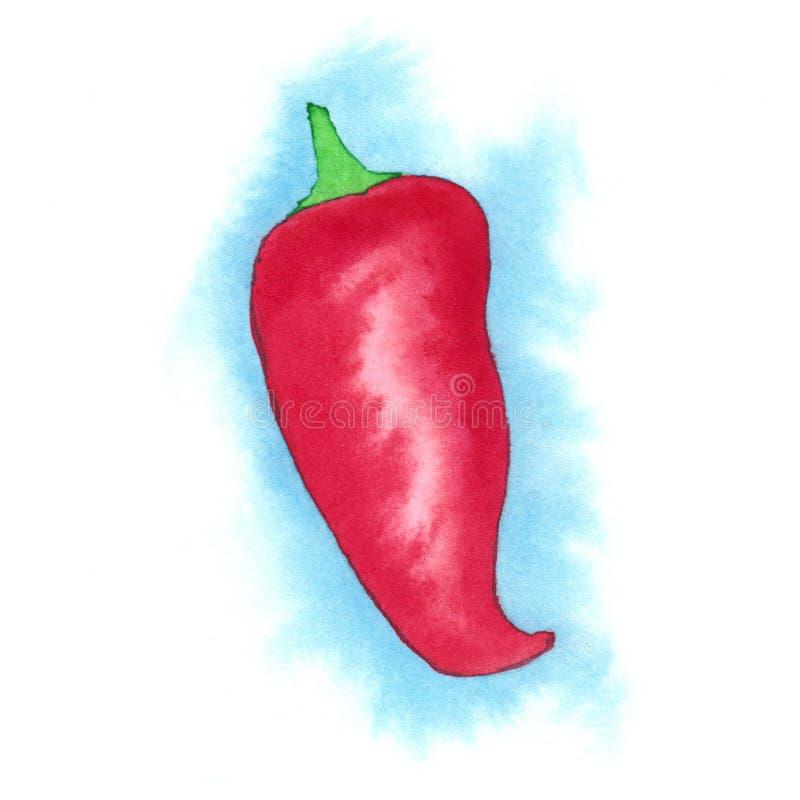 Κόκκινος - καυτό πιπέρι Watercolour Chillie στοκ φωτογραφίες με δικαίωμα ελεύθερης χρήσης