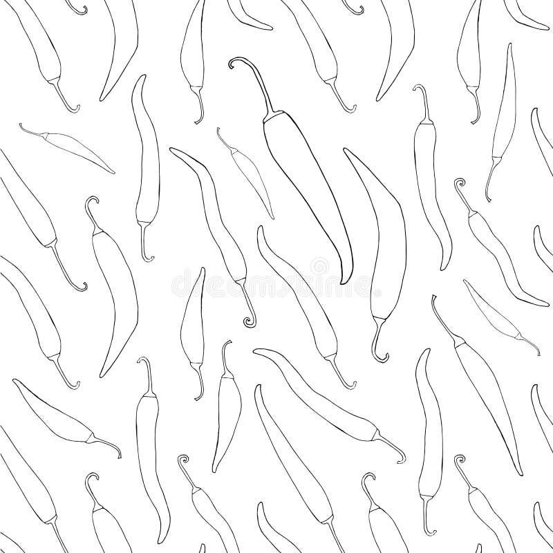 Κόκκινος - καυτό τσίλι άνευ ραφής σχέδιο σκίτσων πιπεριών συρμένο χέρι μονοχρωματικό απεικόνιση αποθεμάτων