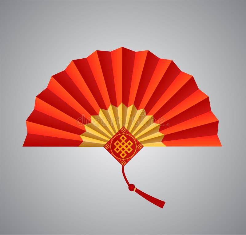 Κόκκινος κινεζικός διπλώνοντας ανεμιστήρας στο άσπρο υπόβαθρο επίσης corel σύρετε το διάνυσμα απεικόνισης απεικόνιση αποθεμάτων