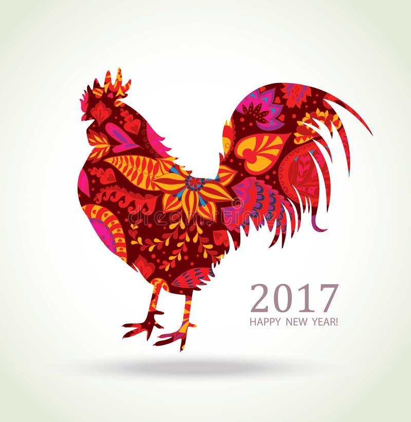 κόκκινος κόκκορας κάρτα που χαιρετά το νέο έτος ελεύθερη απεικόνιση δικαιώματος
