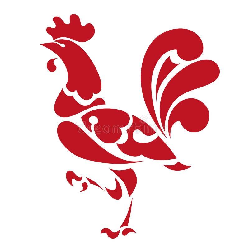 Κόκκινος κόκκορας το σύμβολο του έτους απεικόνιση αποθεμάτων