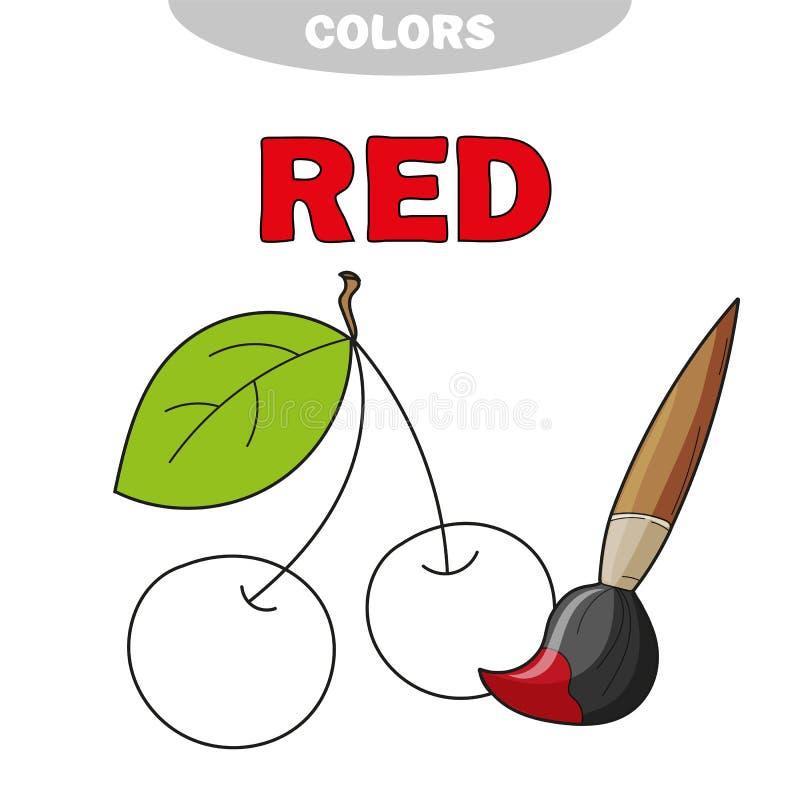 Κόκκινος Μάθετε το χρώμα Απεικόνιση εκπαίδευσης των αρχικών χρωμάτων Διανυσματικό κεράσι διανυσματική απεικόνιση
