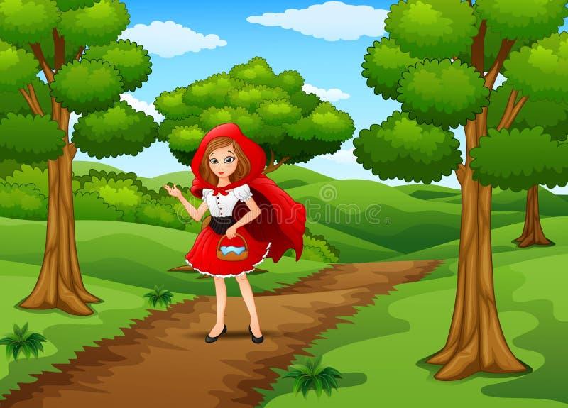 Κόκκινος με κουκούλα γυναικών στο δάσος οδών διανυσματική απεικόνιση