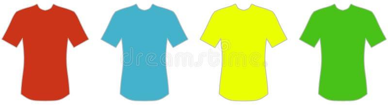 4 κόκκινος μπλε κιτρινοπράσινος εικονιδίων μπλουζών διανυσματική απεικόνιση