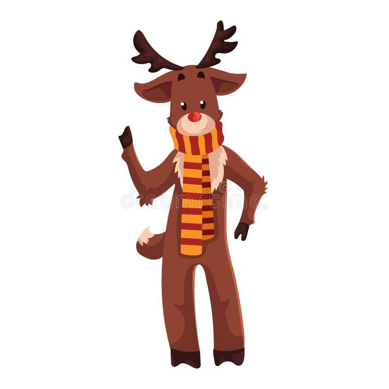 Κόκκινος μυρισμένος τάρανδος Rudolf που στέκεται σε ένα ριγωτό μαντίλι ελεύθερη απεικόνιση δικαιώματος
