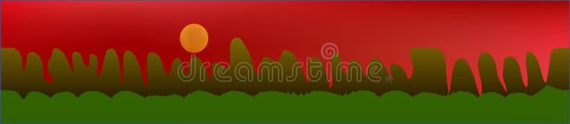 Κόκκινος ουρανός, και τοπίο βουνών διανυσματική απεικόνιση