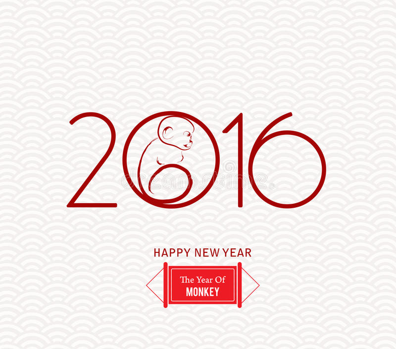 Κόκκινος πίθηκος που προσκολλάται σε έναν κύκλο Διανυσματικό στοιχείο για το νέο σχέδιο ετών ελεύθερη απεικόνιση δικαιώματος