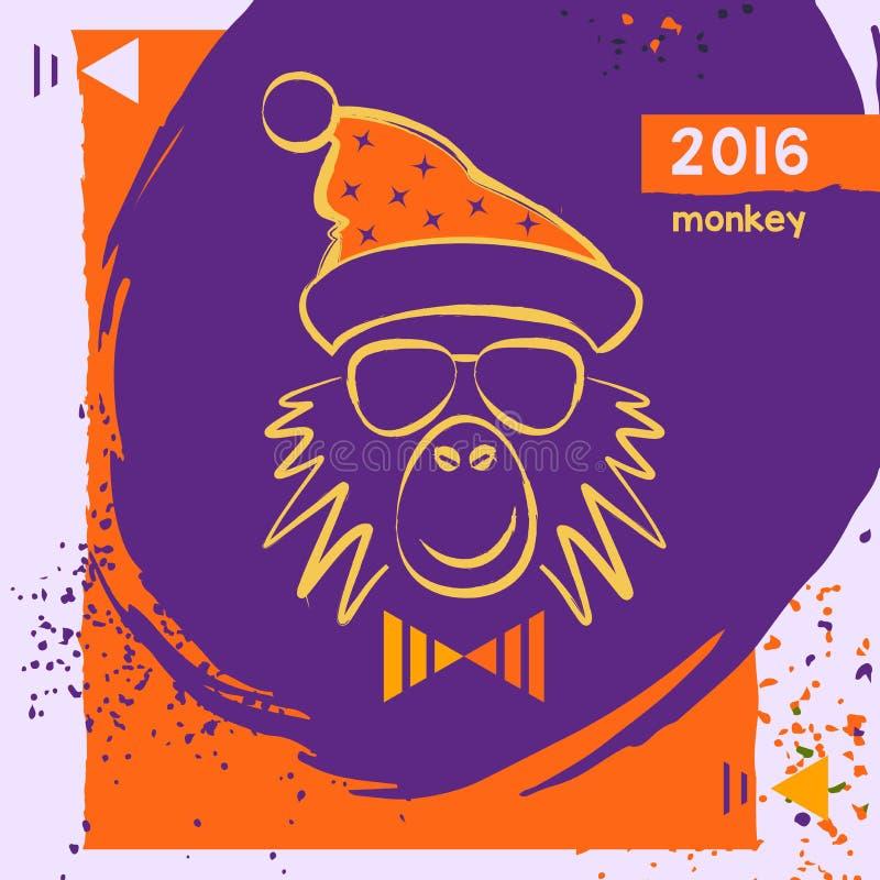Κόκκινος πίθηκος πυρκαγιάς Χριστουγέννων Hipster συρμένο χέρι ελεύθερη απεικόνιση δικαιώματος
