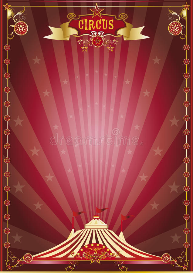 Κόκκινος παρουσιάστε αφίσα τσίρκων ελεύθερη απεικόνιση δικαιώματος
