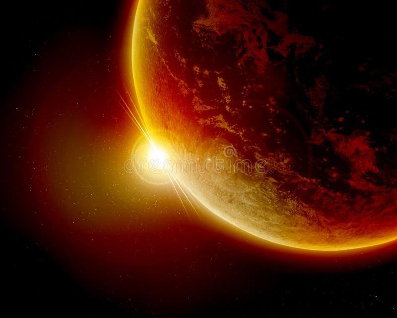 Κόκκινος πλανήτης Γη στο μακρινό διάστημα ελεύθερη απεικόνιση δικαιώματος
