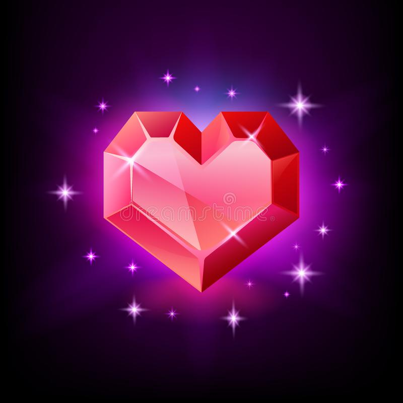Κόκκινος πολύτιμος λίθος, γρανάτης ή ρουμπίνι καρδιών με μορφή μιας καρδιάς Ακτινοβολώντας εικονίδιο πολύτιμων λίθων στο μαύρο δι ελεύθερη απεικόνιση δικαιώματος