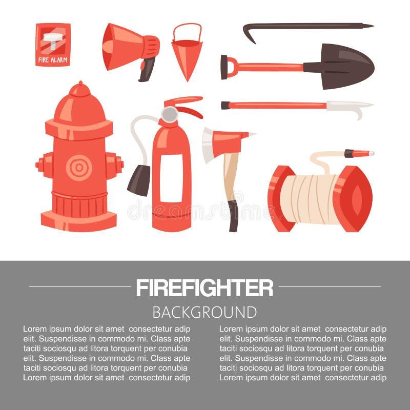 Κόκκινος πυροσβέστης ομοιόμορφος και σύνολο και όργανα εξοπλισμού προστασίας ( Φτυάρι, πυρκαγιά ελεύθερη απεικόνιση δικαιώματος