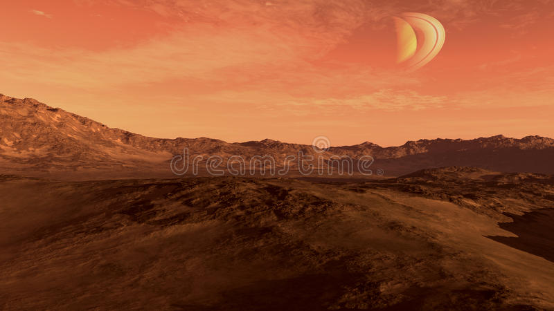 Κόκκινος πλανήτης με το Κρόνος-ομοειδές φεγγάρι ελεύθερη απεικόνιση δικαιώματος