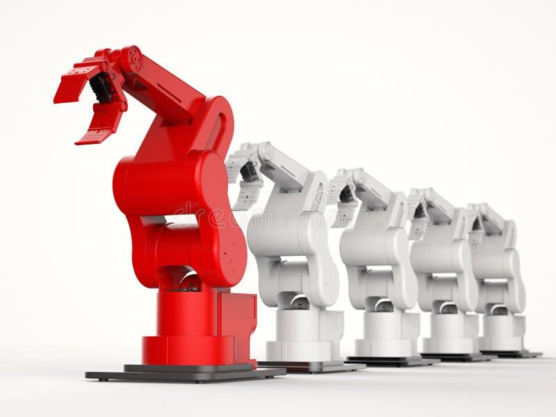 Κόκκινος ρομποτικός βραχίονας ως ηγέτη απεικόνιση αποθεμάτων