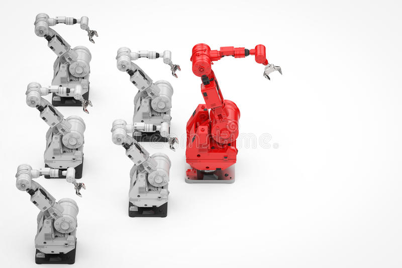 Κόκκινος ρομποτικός βραχίονας ως ηγέτη διανυσματική απεικόνιση