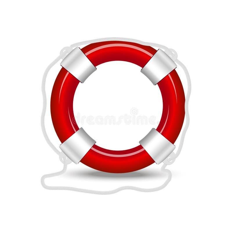 Κόκκινος σημαντήρας ζωής που απομονώνεται στο άσπρο υπόβαθρο επίσης corel σύρετε το διάνυσμα απεικόνισης διανυσματική απεικόνιση
