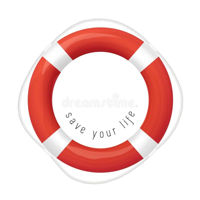 Κόκκινος σημαντήρας ζωής, που απομονώνεται στο άσπρο υπόβαθρο διανυσματική απεικόνιση