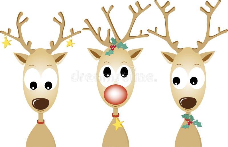 κόκκινος τάρανδος Rudolf μύτης &p διανυσματική απεικόνιση