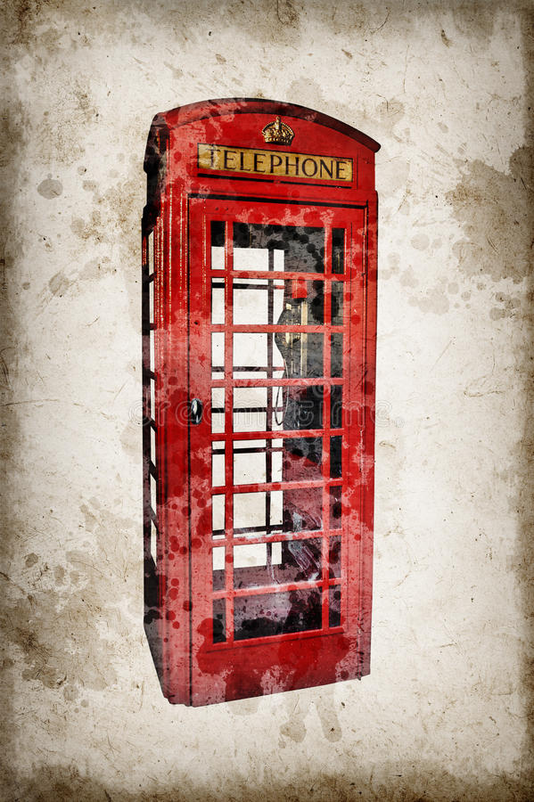 Κόκκινος τηλεφωνικός θάλαμος του Λονδίνου που απομονώνεται στο εκλεκτής ποιότητας υπόβαθρο εγγράφου σεπιών στοκ εικόνες