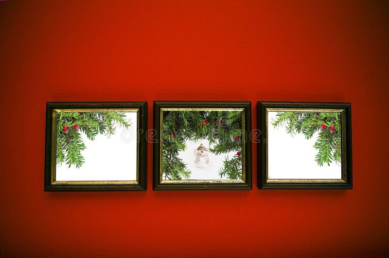 κόκκινος τοίχος πλαισίων Χριστουγέννων στοκ εικόνα