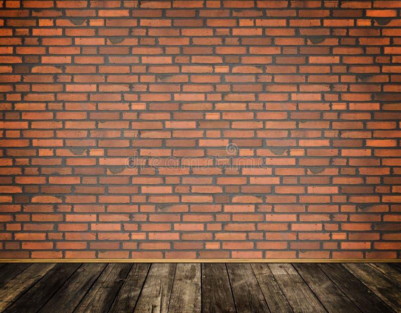 Κόκκινος τοίχος τούβλων και παλαιό ξύλινο πάτωμα ελεύθερη απεικόνιση δικαιώματος